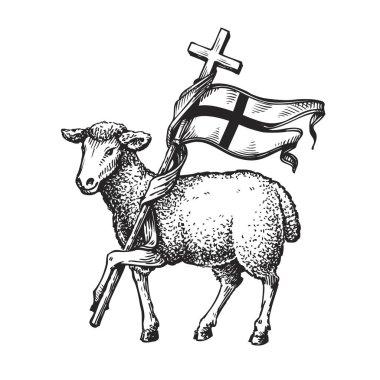 Lamb with Cross. Religion symbol. Sketch vector illustration