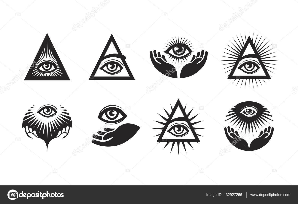 Depositphotos Stock Illustration All Seeing Eye Icons Set Triangle Logo Tattoo