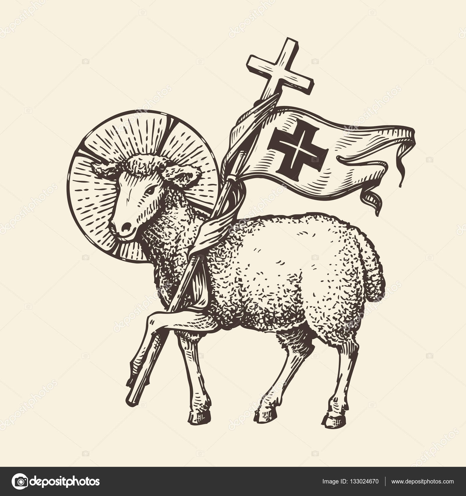 Lamb Or Sheep Holding Cross Religious Symbol Sketch Vector Stock