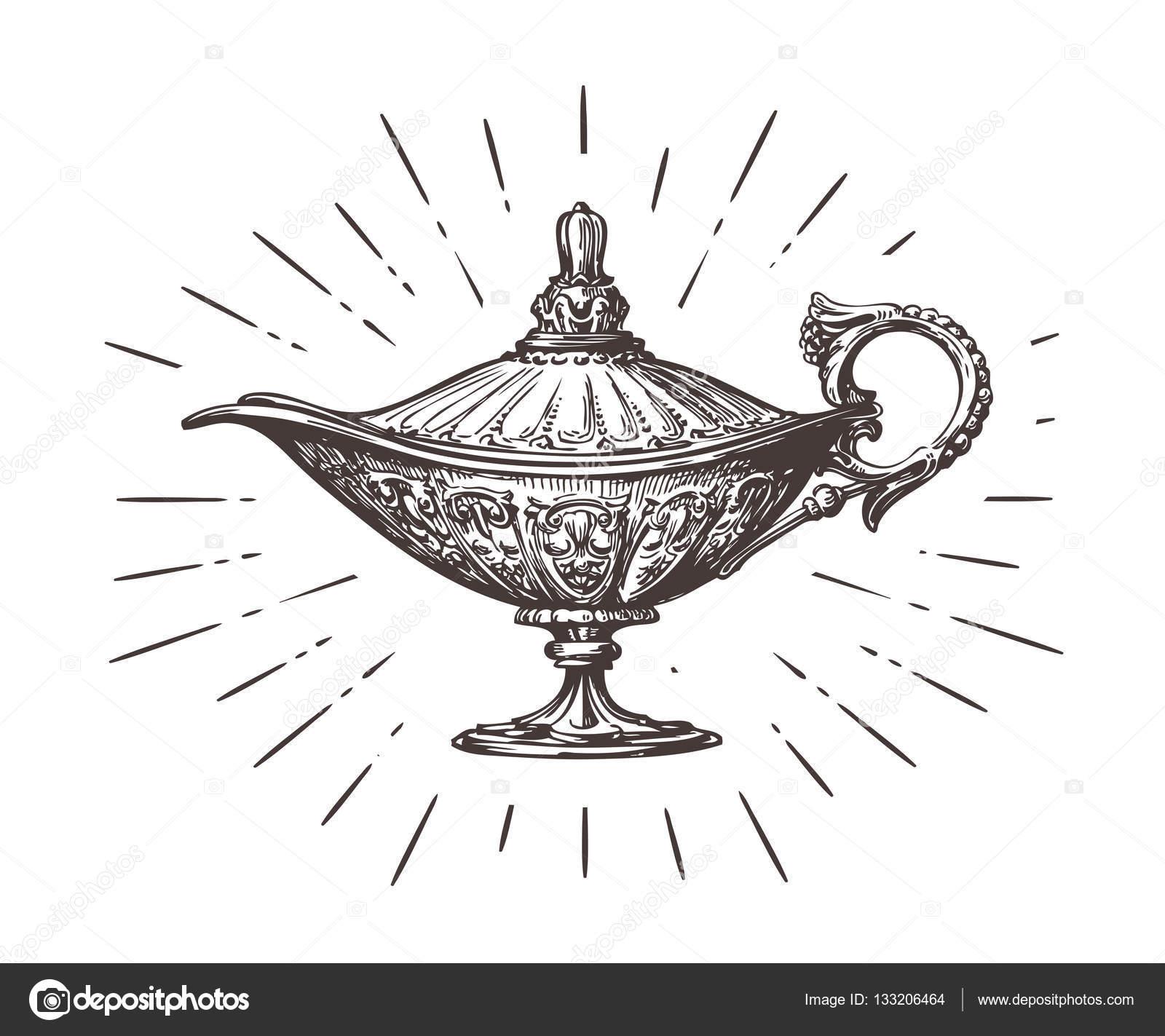Aladdin Lampe Magique Ou De Genie Illustration Vectorielle