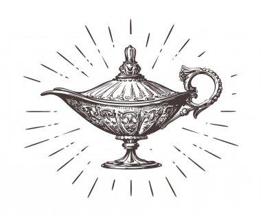 Aladdin magic or genie lamp. Vintage sketch vector illustration