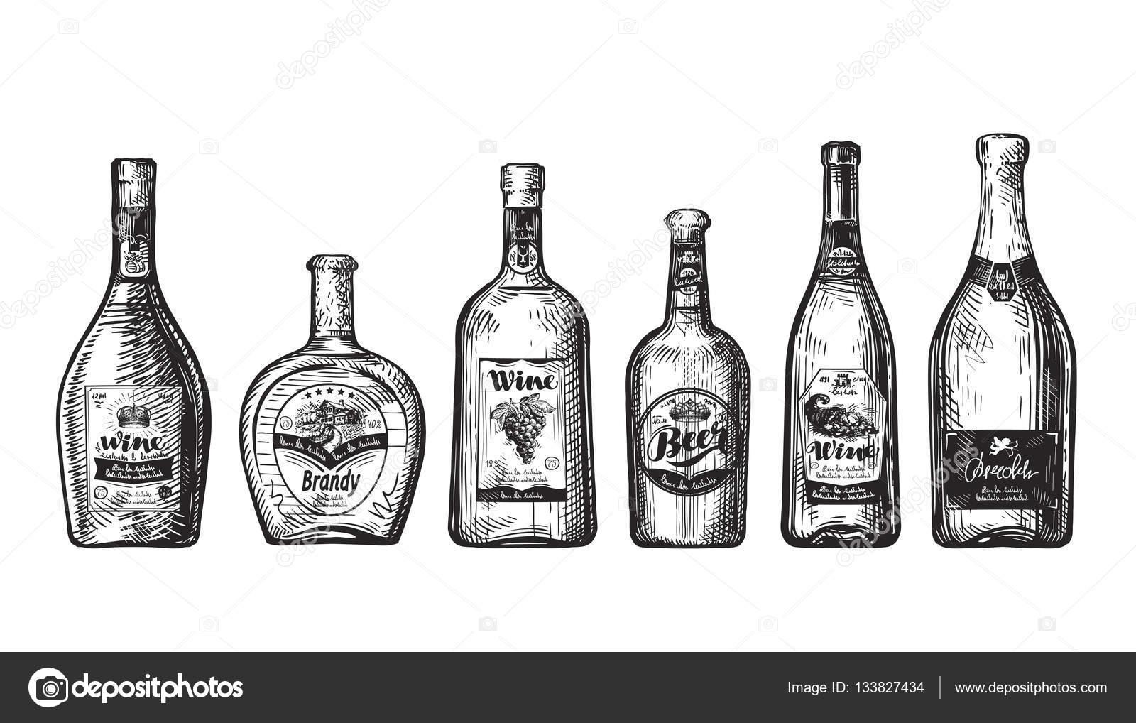 Botella De Cerveza Dibujo: Dessinés à La Main Ensemble Bouteilles Pour Bar