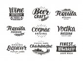Alkoholos italt. Felirat, felirat, a menü design étterem vagy bár gyűjtemény