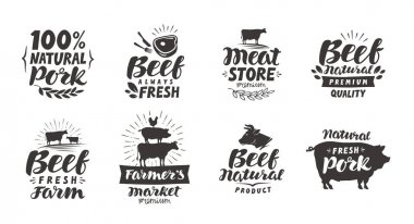 Vector set of meat labels, badges and icons. Collection elements for menu design restaurant or cafe