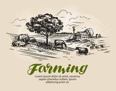 Farm sketch. Landscape, agriculture farming vector illustration stock vector