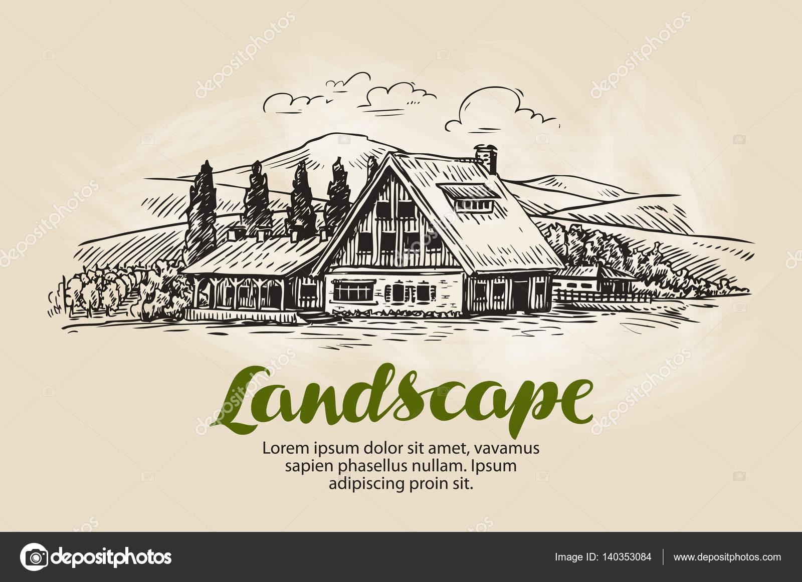 Schizzo di paesaggio rurale fattoria casa di campagna for Piani di fattoria di 2000 piedi quadrati