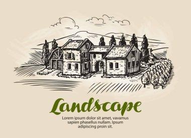 Country house, building sketch. Vintage rural landscape, farm, cottage vector illustration