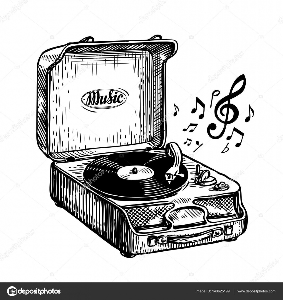 vintage turntable record player vinyl record music song symbol hand drawn sketch vector. Black Bedroom Furniture Sets. Home Design Ideas