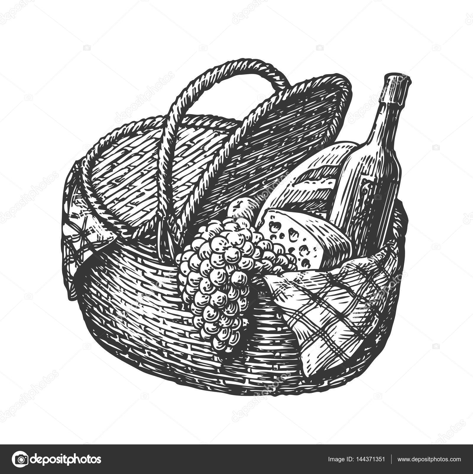 Vintage Wicker Picnic Hamper Or Basket With Food Such As Bottle Of Wine Cheese Bunch Grapes Loaf Sketch Vector Illustration Stock Vector C Sergeypykhonin 144371351