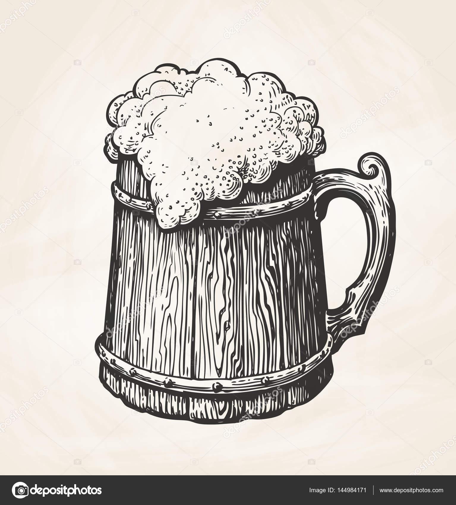 Boceto dibujado a mano taza de madera vintage con espuma for Bar de madera vintage