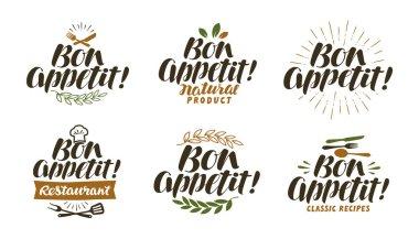 Bon appetit, lettering. Food label set. Vector illustration