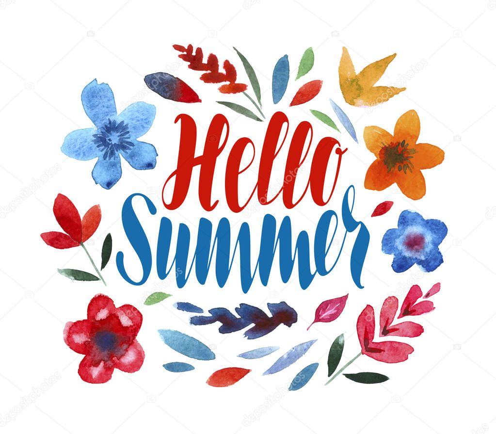 Hello Summer, lettering. Flower pattern