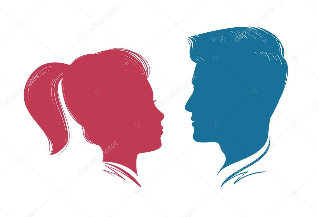 Silueta Hombre Y Mujer: Retrato De Hombre Y Mujer. Perfil De La Cabeza, Silueta