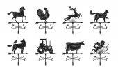 Větrná korouhvička silueta, sady ikon. Na zakázku, zvaný weathervane symbol nebo logo. Vintage vektorové ilustrace