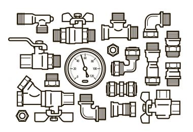 Sanitary engineering, plumbing set icons. Water supply, heating concept. Vector illustration