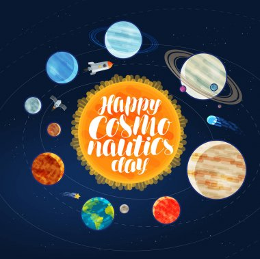 Happy cosmonautics day, banner. Outer space, cosmos, galaxy, planets and stars concept. Cartoon vector illustration