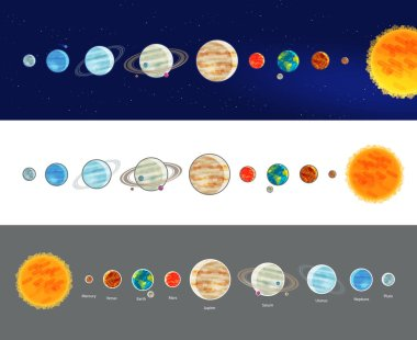 Astronomy, space, solar system infographics. Parade of planets, planetarium icon or symbol. Vector illustration