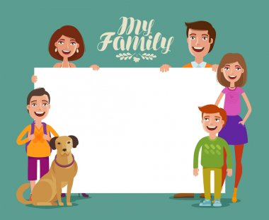 Happy family banner. Children and parents, concept. Cartoon vector illustration
