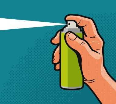 Spray in hand. Comics style design. Cartoon vector illustration