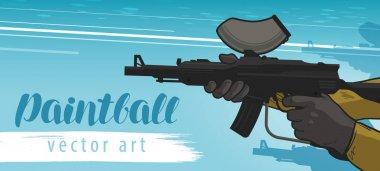 Paintball banner. Sports team game. Cartoon vector illustration