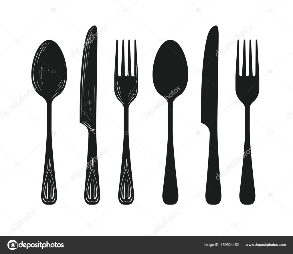 Tableware Such As Spoon Knife Fork Silhouette Kitchen Cuisine