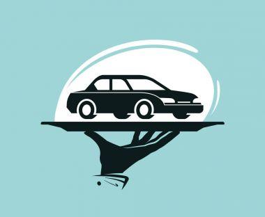 Taxi service logo. Car wash, dealership, dealer, auto parts, rental icon or label. Vector illustration