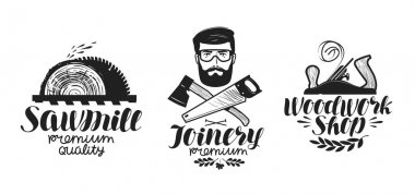 Joinery, sawmill label set. Woodwork shop icon or logo. Handwritten lettering, calligraphy vector illustration