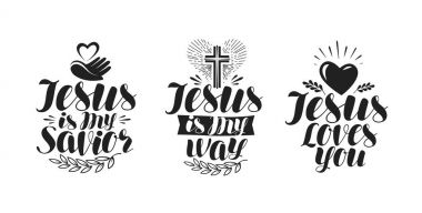 Jesus is my Savior, calligraphy. Bible lettering. Vector illustration