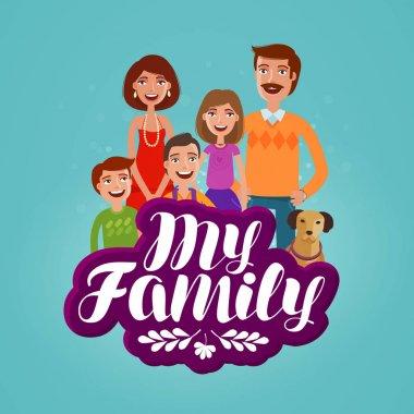 Happy family concept. Domestic life, cartoon vector illustration