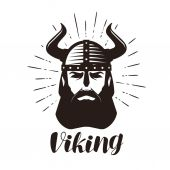 Photo Viking logo or label. Portrait of bearded man in helmet with horns. Vector illustration