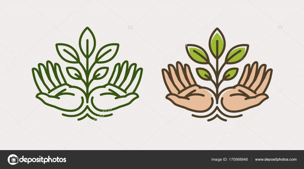 Sprout In Hand Agriculture Farming Logo Or Symbol Ecology