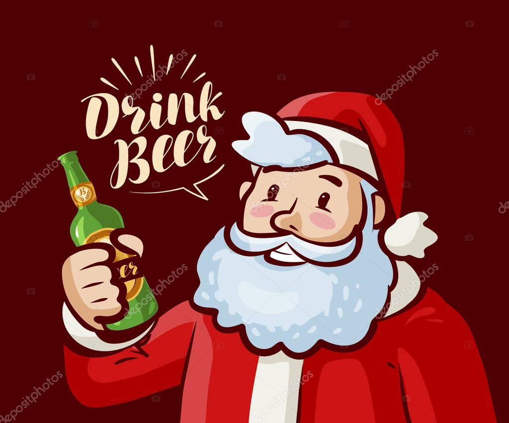 weihnachtsmann mit flasche bier in der hand weihnachten. Black Bedroom Furniture Sets. Home Design Ideas