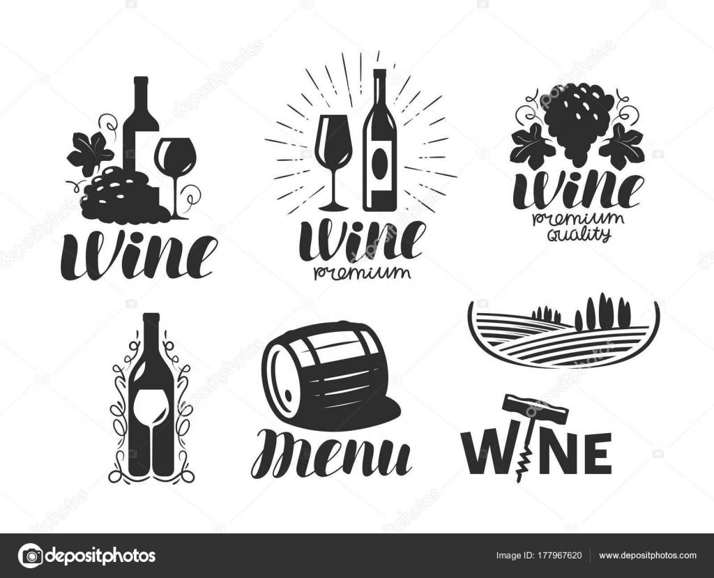 Wein, Weingut-Logo. Getränke, Alkoholisches Getränk, das Symbol oder ...