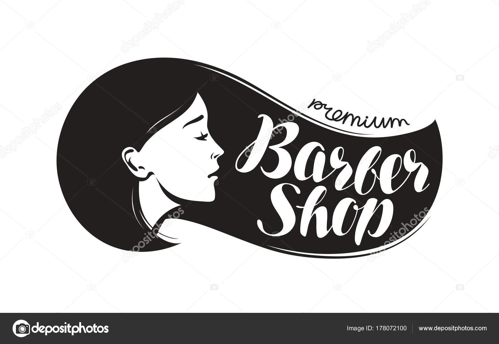 Barber Shop Logo Or Label Beauty Salon Hairdresser Typographic Design Lettering Vector Illustration Stockvektor 178072100