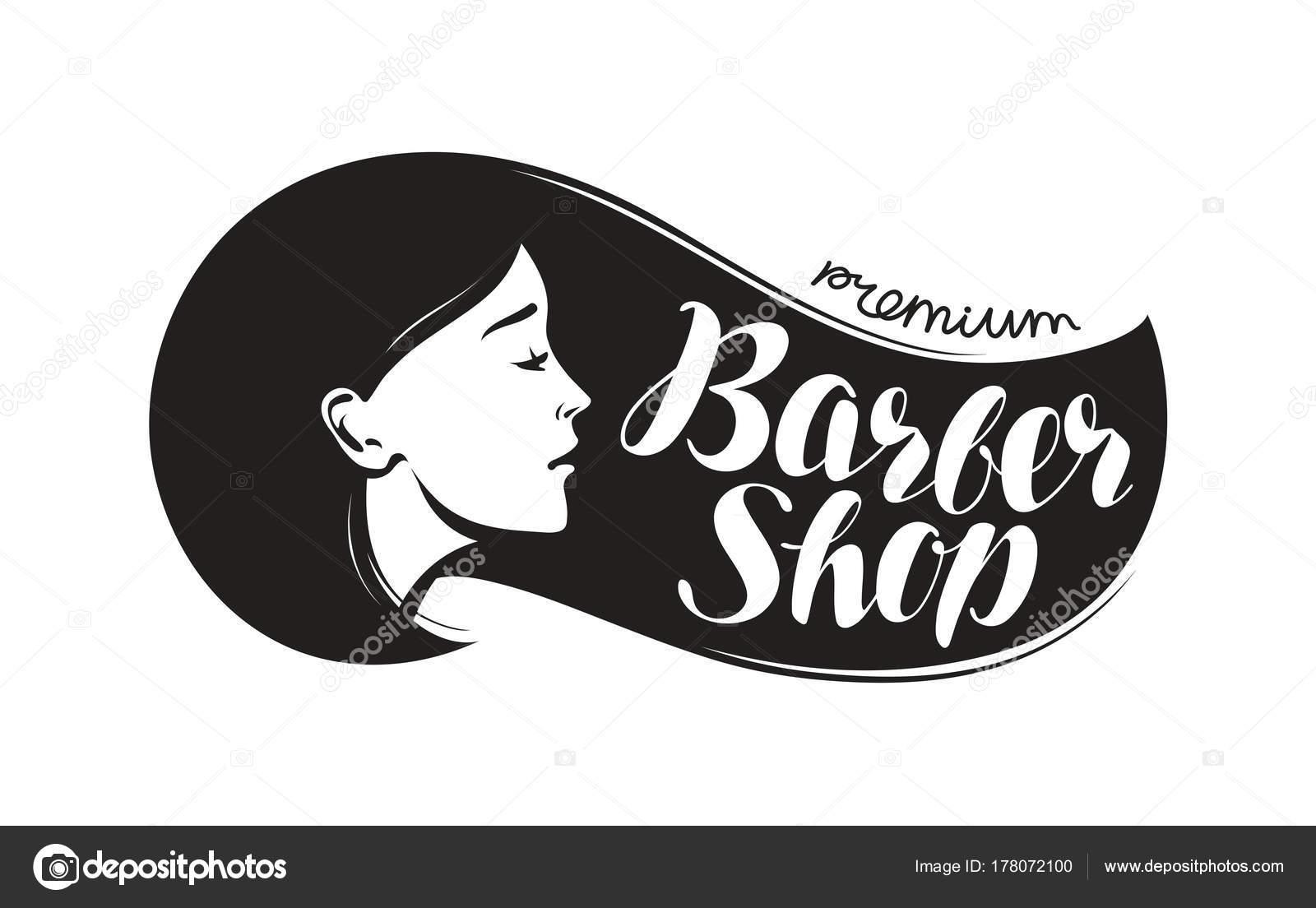 Barber Shop Logo Or Label Beauty Salon Hairdresser Typographic Design Lettering Vector Illustration Stockvektor 178072100