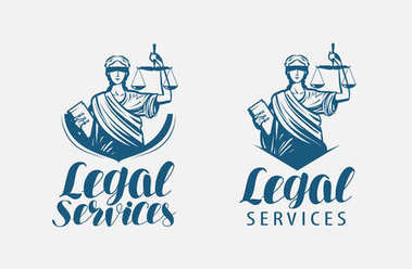 Legal services logo. Notary, justice, lawyer icon or symbol. Vector illustration