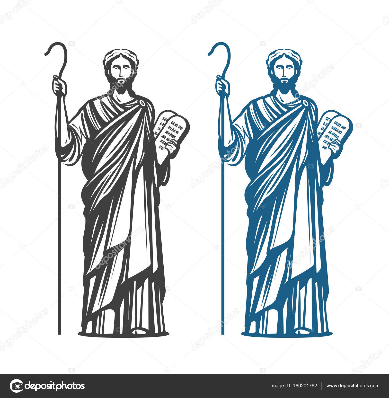 Moses Holds In Hand Two Stone Tablets Of Covenant With Ten