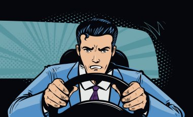 Aggressive driver behind the wheel of car. Race, pursuit in pop art retro comic style. Cartoon vector illustration
