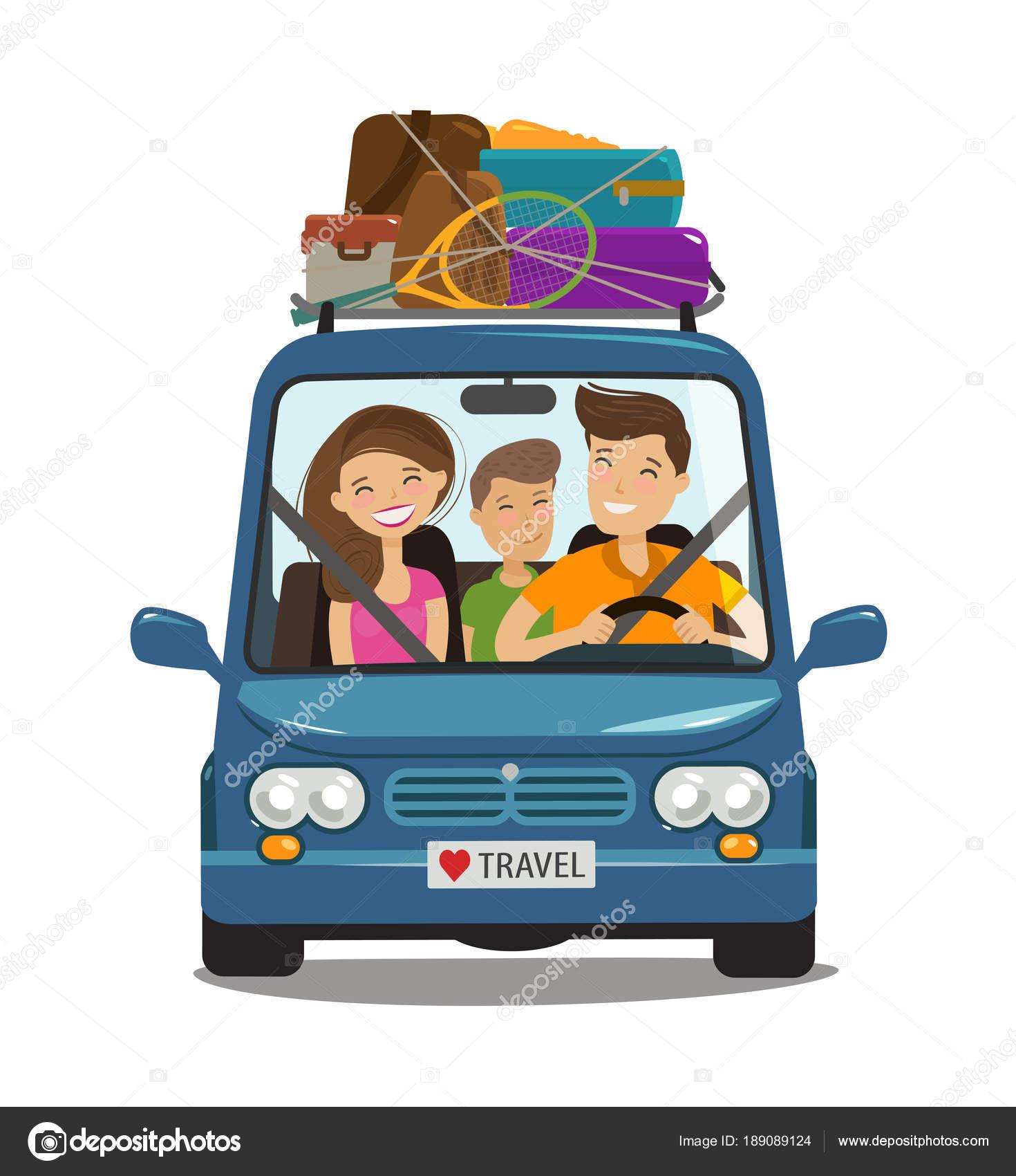 Animado Familia De Viaje Viaje Concepto De Viaje Feliz