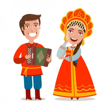 Happy russian people in traditional national costumes. Russia, Moscow concept. Cartoon vector illustration