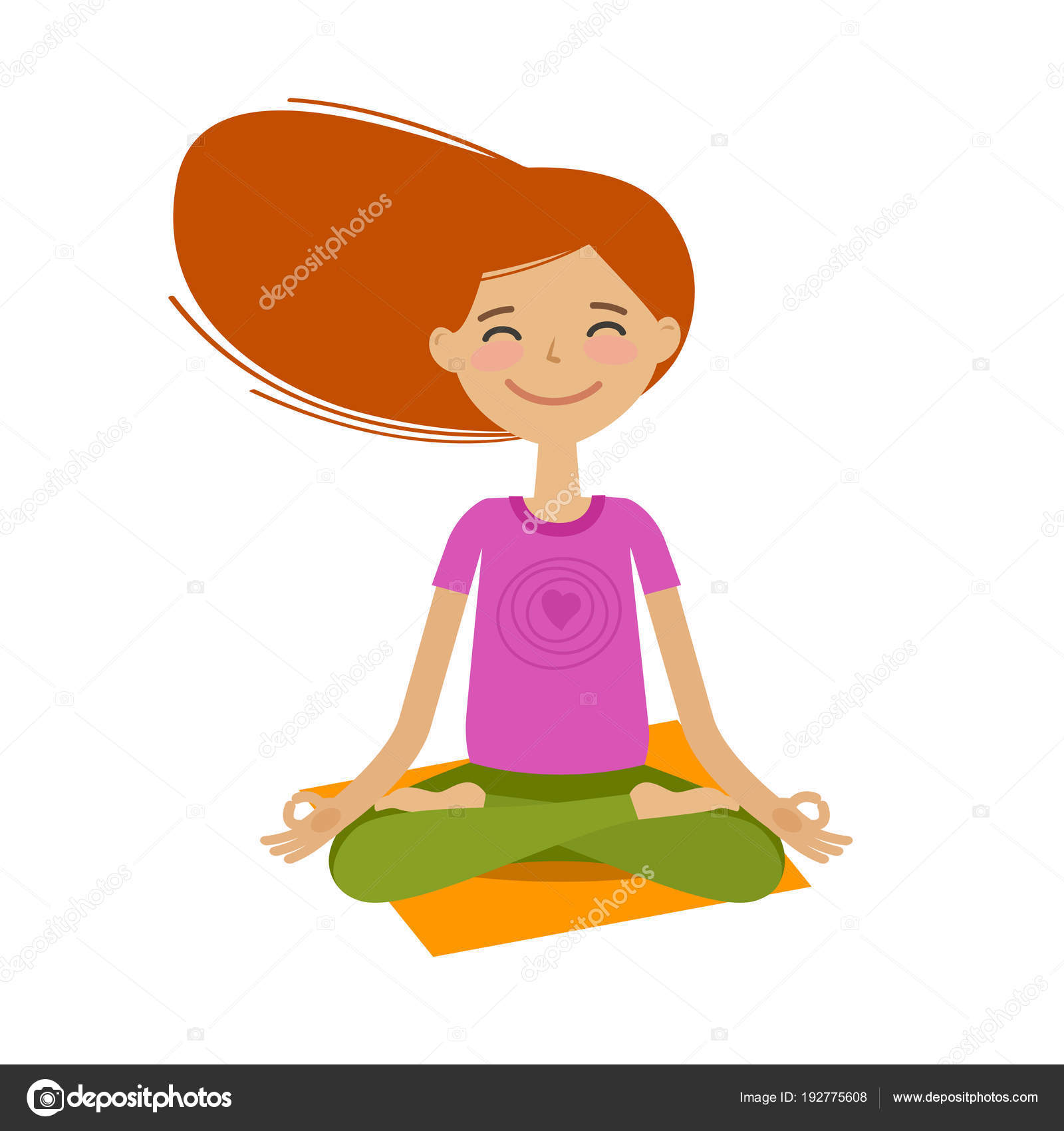Happy girl sitting in lotus pose. Yoga, fitness concept. Cartoon vector  illustration 8