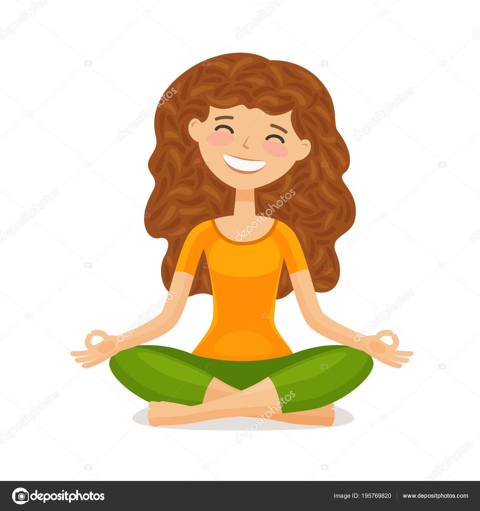 Niedliche Madchen Yoga Zu Tun Entspannung Meditation Konzept