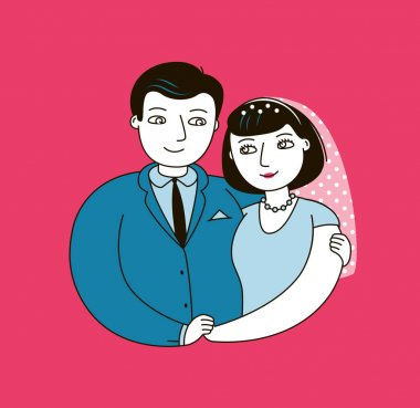 Wedding or love. Happy married couple vector illustration