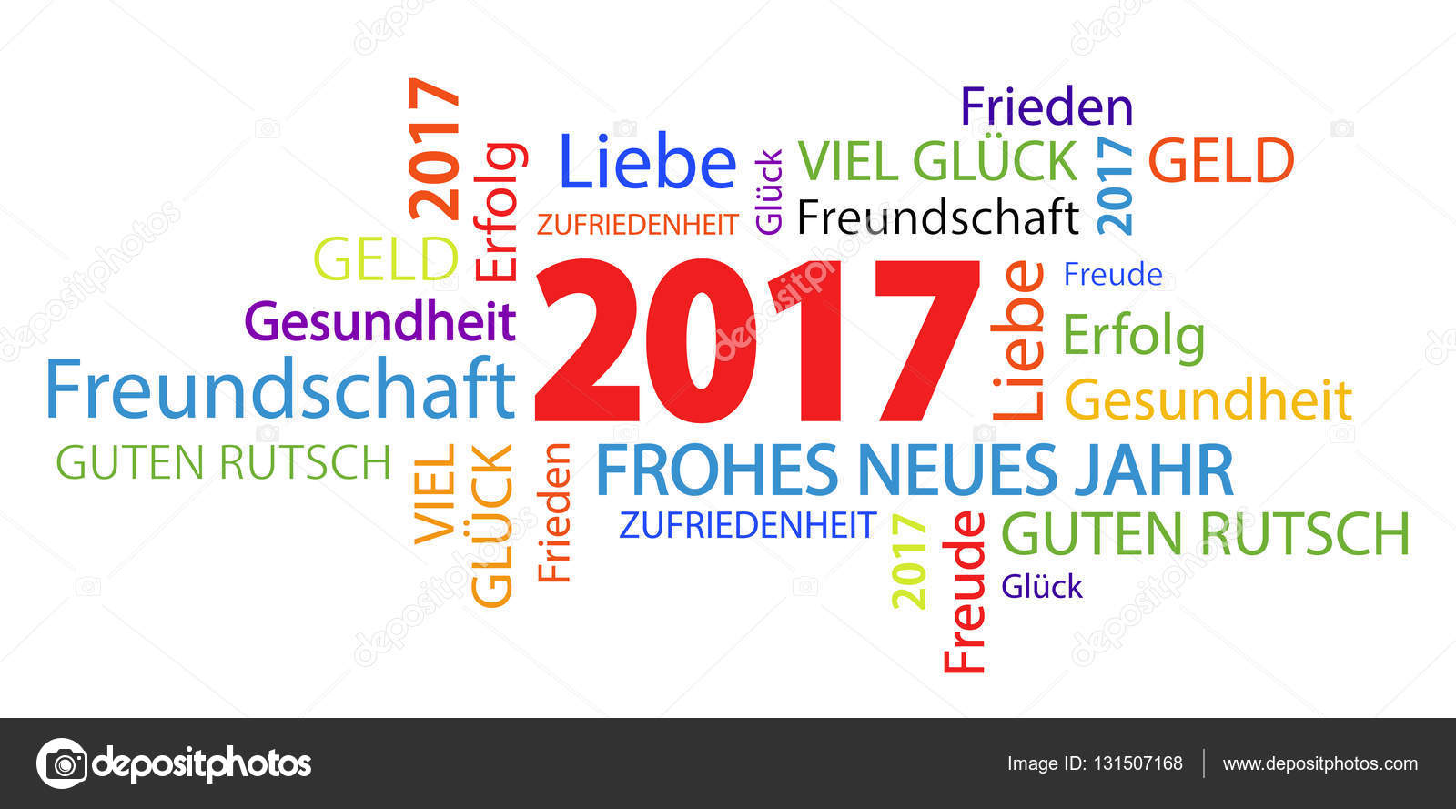 Word Cloud With New Year 2017 Greetings Stock Vector Opicobello