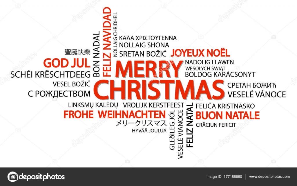 Weihnachtsgrüße In Verschiedenen Sprachen.Schlagwortwolke Frohe Weihnachten Stockvektor Opicobello 177188660