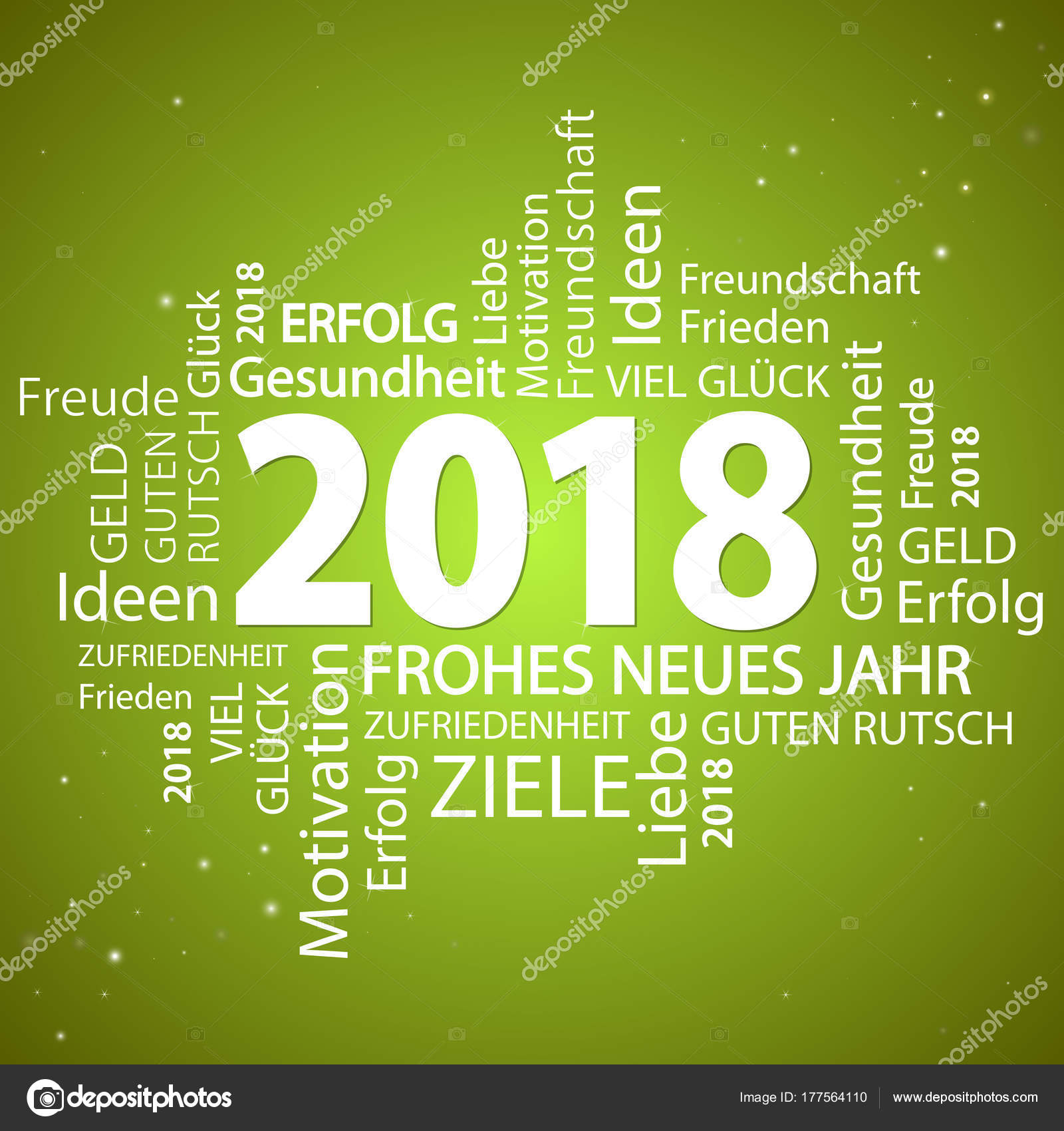 Word Cloud With New Year 2018 Greetings Stock Vector C Opicobello