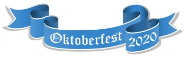 vector illustration of an blue banner with text Oktoberfest 2020 isolated on white background