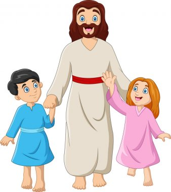 Cartoon Jesus Christus with children clip art vector