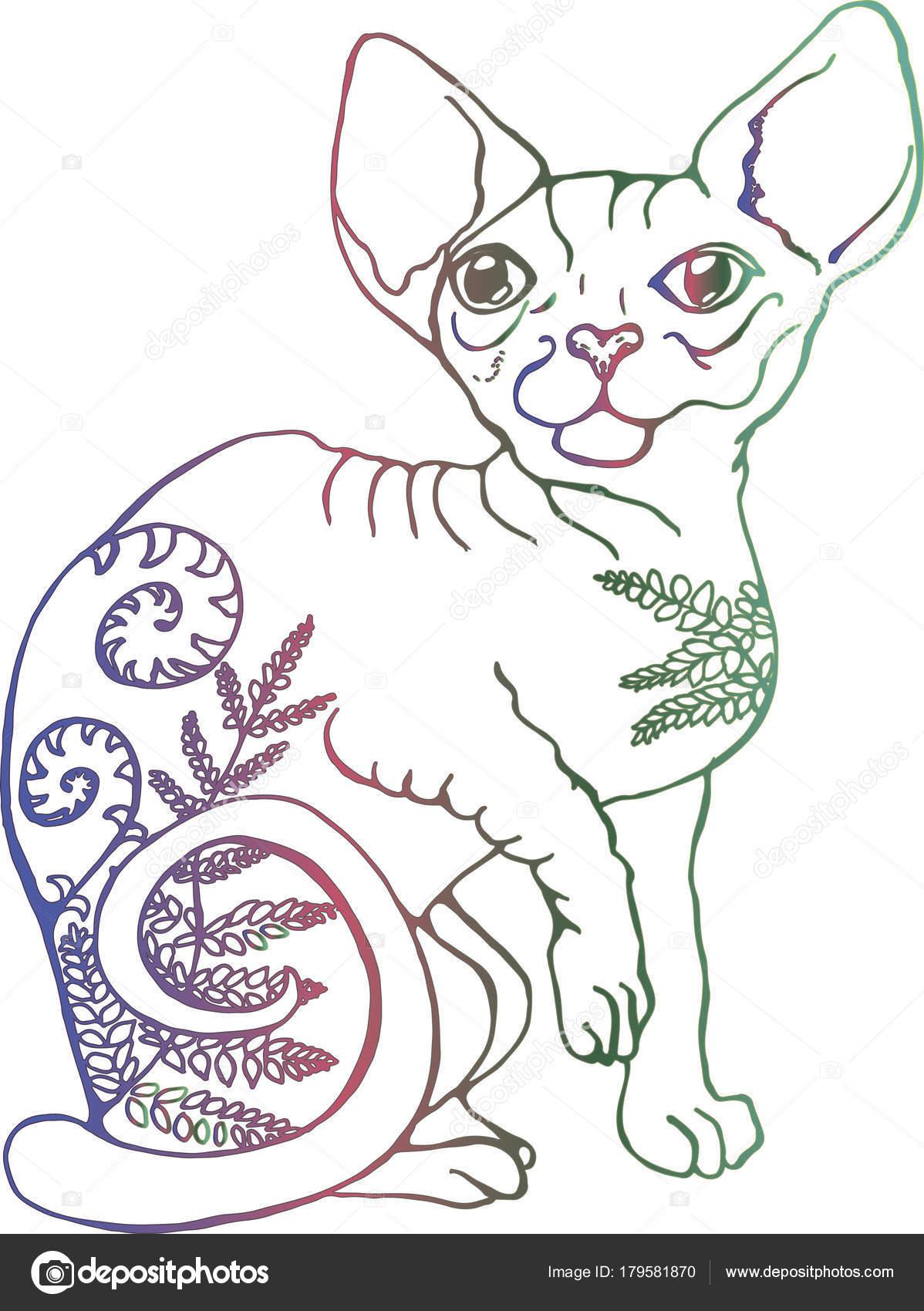 Ilustración de vector de un gato. Colorido retrato de un gato ...