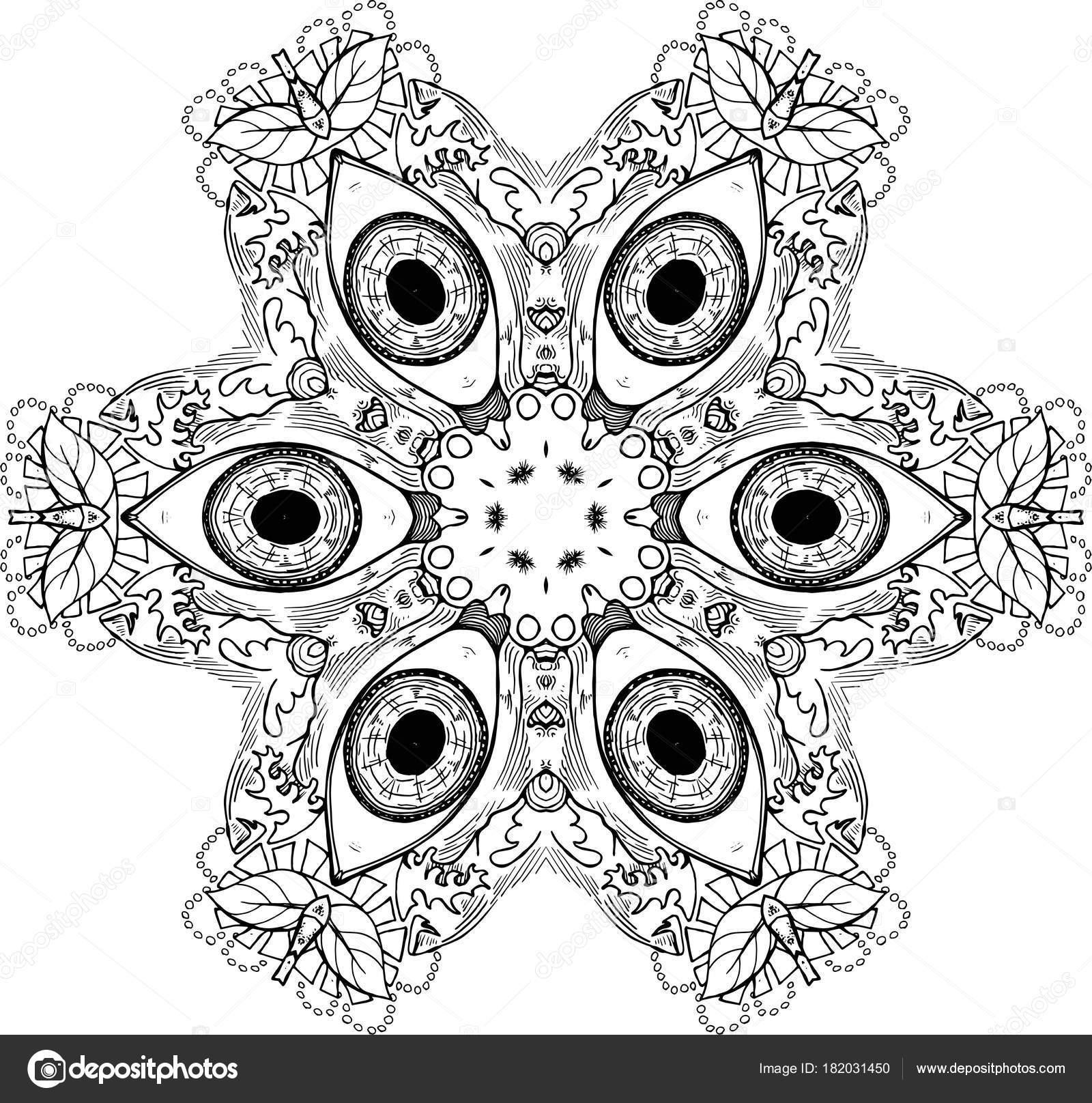 Mandala De Noir Et Blanc Avec Les Yeux L Idee Pour Un Tatouage